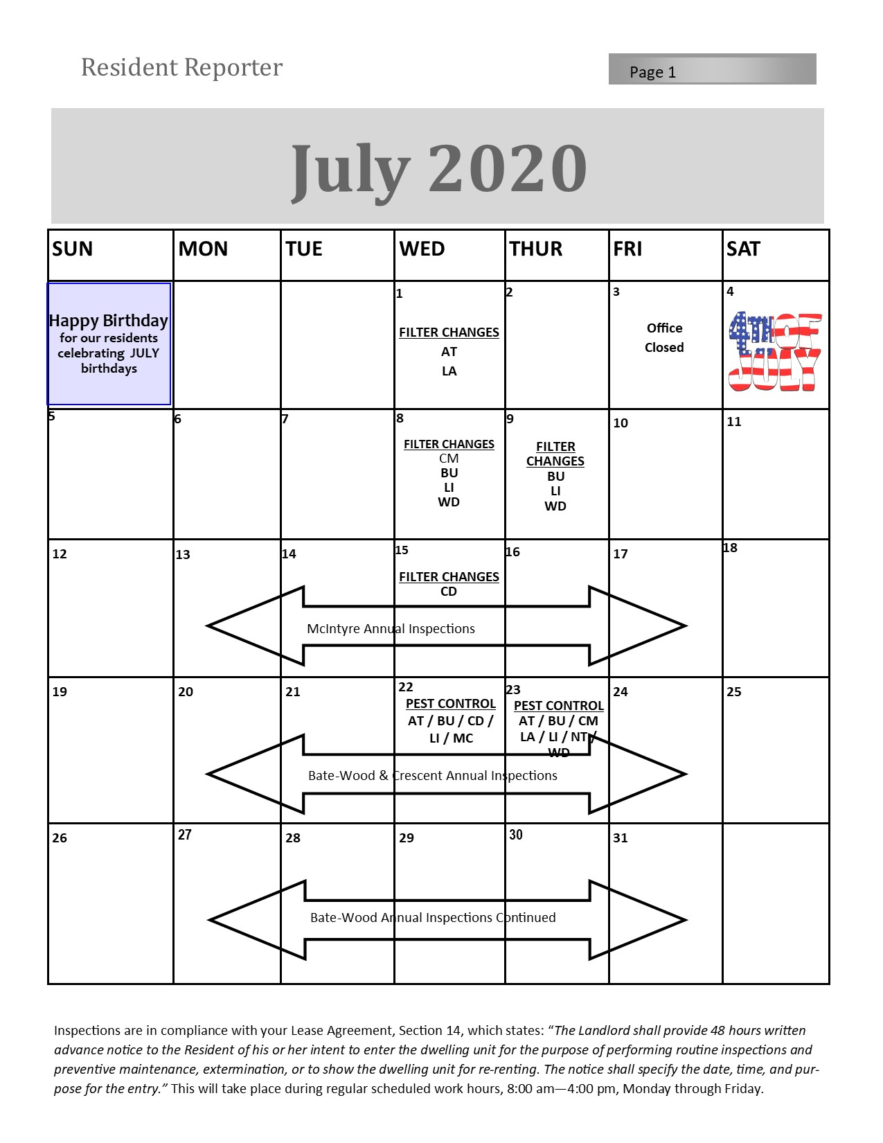 July Resident Services Calendar